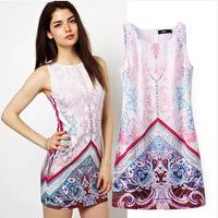 2014 New European vintage Summer leisure fashion mini palace sleeveless positioning printed dress,WD0109