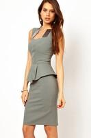 vestido de renda formal dresses Elegant Modern Women Peplum Dress with Satin Inserts Neck Midi Dress LC6215   preppy work dress