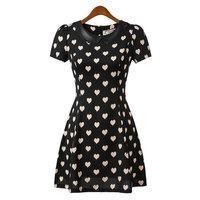 2014 New European Summer leisure fashion casual dress women leather peter pan collar hearts print dress,WD0112