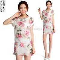 Free shipping  New Korean organza flower mosaic burning summer long stylish blouses women spring 2014