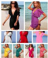 2014 summer women sexy deep V solid color Euro beach dress swimwear, casual bikini cover up swimsuit