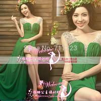 Drop shipping &Free shipping 2014 Women's elegant wedding dresses, women's Green color Senior party dresses formal wear  XS-XXL