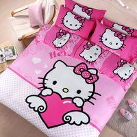 2014 NEW ARRIVAL Free Shipping Home Textile Four Pieces Cotton Bedding Set Hello Kitt*y Cartoon Printed 100% Cotton Set