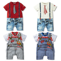 Prom newborn baby cute romper Bodysuits Jumpsuit Brace Style jeans Overalls boy tie clothing costume baby clothes