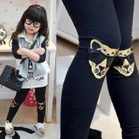 Retail girls leopard pants, girls fashion cotton embroidery pants, elastic waist legging pants 847