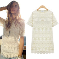 2014 New Women Lace Dresses,Sexy Ladies Spring Shirts,Hallow-out Lace Summer Tops, Popular Women Summer Blouse with O Neck