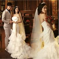 2014 New arrival The bride Senior wedding dress,  princess Strapless lace wedding dress, women's Mermaid dress XS-XXXL