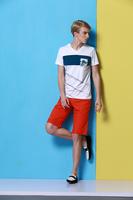 2014 men's new summer cotton short sleeve V-neck T-shirt  no:1407