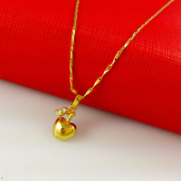 24k gold pendant & necklace 100% new hand made fashion jewelry apple necklace Free shipping high quality! A068