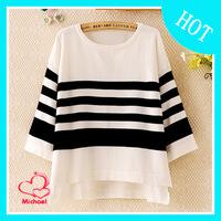 2014 spring women's plus size loose o-neck stripe design short top female 404t931 t-shirt
