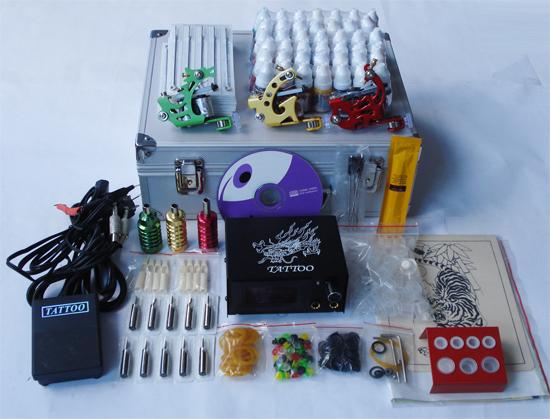 Professional Complete Tattoo Kit Tattoo Starter Set Body Art kit 3 Machines TK034 Free Shipping(China (Mainland))