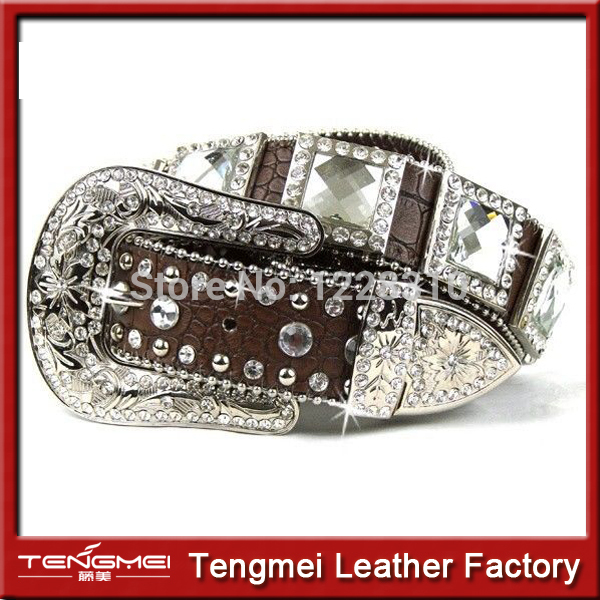 Western Brown Leather All Square Rhinestone Men Crystal Belt(China (Mainland))