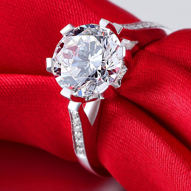 Luxo 2 Sparer anel de prata pura de casamento da platina anel das mulheres(China (Mainland))