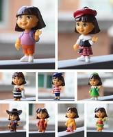 9 pcs/set PVC Genuine Value Dora the Explorer Dora 9 styles Dolls toy gift