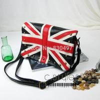 2014 flag bag navy torx flag british style rivet bag shoulder bag messenger bag handbag women's UK style