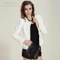 2014 brief formal slim sheepskin genuine leather clothing female short leather coat design