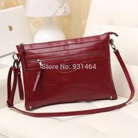 New 2014 Rivet Design Women Leather Messenger bag Retro Lady Clutch Handbag Shoulder Cross body bag Blosa Free shipping