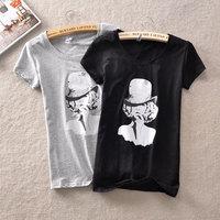 Cotton lycra elastic comfortable slim short-sleeve T-shirt trend fashion sexy basic casual short-sleeve shirt female