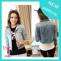 2014 fashion denim jacket long sleeve women clothing slim denim coat high qulity WO-136