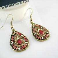New Sale Hot Vintage Earrings Fashion Earrings Statement Jewelry ,Wholesale #PDRE-DJ078Red .