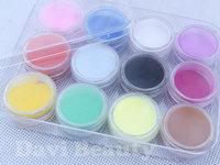 12 Colors/ cans/ lot  nail beads piece matt powder For 3D/UV Gel Nail Art nail salon decoration FREE SHIPPING