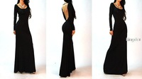 European and American fashion sexy halter dress Slim elegant long-sleeved dress long section,long sleeved evening dresses