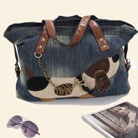 Cute Dog Cartoon Bag Girls 2014 Retro Denim Bag Girls Shoulder Bag Female Jeans Bag Personalized Women's Handbag AB01E