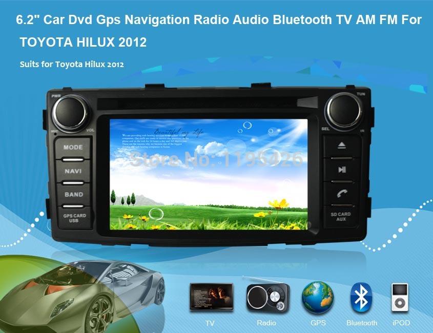 "New Car Gps Dvd 6.2"" Car Dvd Gps Navigation Radio Audio Bluetooth TV AM FM For TOYOTA HILUX 2012(China (Mainland))"