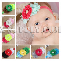 Free Shipping Baby Sandals with Three Shabby Flowers and Pearl Rhinestone Center for Baby Hair Accessories Decotation
