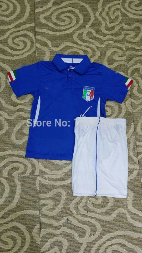 New! Top quality 2014 World Cup Italy Home blue shirt &short Kids / Youth italy Football jerseys free shipping free custom(China (Mainland))