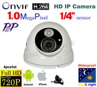 DHL 4pcs/lot! H.264 1.0 Megapixel Onvif 720p nvr for IP camera Dome Security IP camera /Network Camera IP surveillance camera