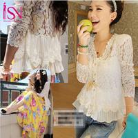 SZ010 New 2014 Fashion Autumn Summer Women's Lace Cotton Blouses Embroidery Shirt Warm Cardigan Casual Tops Blusas Femininas