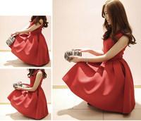 AnnaSu 2014 summer new women Slim waist sleeveless red dress bottoming princess tutu