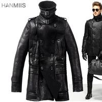 New 2014 Winter Sheepskin Clothes fur One piece Outerwear Men Medium-Long Genuine Leather fur