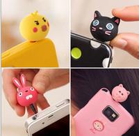 Wholesale 5pcs/lot Phone accessories 3.5mm Cute Lovely 3D Animal designs earphone plug dustproof Dust plug for phones