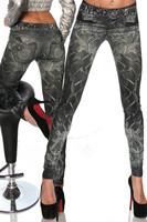L-490 New 2014 Galaxy Cosmic Lightning Print Faux Jeans Jeggings Thin Skinny Pencil Pants Fashion Women's Leggings Autumn