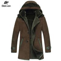 New 2014 Genuine Leather Sheepskin One Piece Male Hooded Medium Long  Men Coats & Jacket Big Size M L XL XXL XXXL 4XL