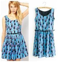 2014 summer new European style Birdcage stamp   sleeveless vest dress with belt