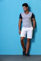 2014 men's new summer cotton short sleeve V-neck T-shirt  no:1425
