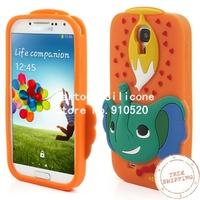 Free shipping +Lovely Elephant Soft Silicone Cover for Samsung Galaxy S4 i9505 I9500 I9502 - Orange