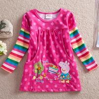 2014 Direct Selling Full New Peppa Pig Girls Sleeves Tops Embroidery Autumn Cotton T Shirts Blusas Infantil Camiseta Manga Longa