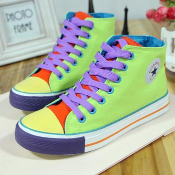 Горяч-продавая цвет блока украшение шнуровкой парусиновые туфли с низким multicolour ...