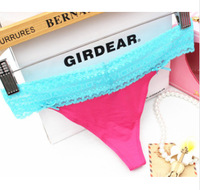 2014 New Young Ladies' VS/Pink Sexy Lace Panties/  Girl's Seamless T-back Briefs Underwear
