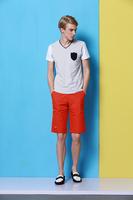 2014 men's new summer cotton short sleeve V-neck T-shirt  no:1411