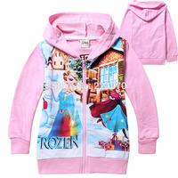 New Frozen Girls casual gooded jackets coats full sleeve children baby girls autumn jackets coats clothing free shipping
