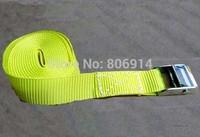 Free shipping 2pcs/lot 25mm 250kgx3M metal cam buckle tie down luggage load strap cargo lashing belt