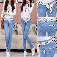 free shipping 2014 new women's cotton jeans feet pencil pants jean