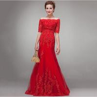 High quality 2014 new bridal wedding gown fish tail lace red long dress mermaid wedding dresses vestidos de novia