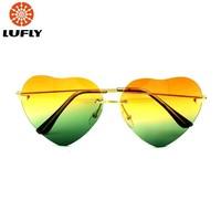 New 2014 Heart shape metal fashion women sunglasses eyewear & accessories  F03