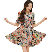 New 2014 Fahion Women's Winter Dress  Print Bat-Wing Sleeve Dress Chiffon Sleeveless Casual Dress With 5 Size Plus Size 2 Color